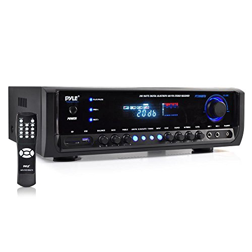 300w Component - Wireless Bluetooth Power Amplifier System - 300W 4 Channel Home Theater Audio Stereo Sound Receiver Box Entertainment w/USB, RCA, 3.5mm AUX, LED, Remote - for Speaker, PA, Studio Use - Pyle PT390BTU