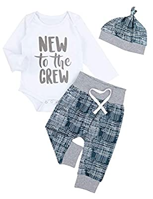 Newborn Baby Boy Girl Clothes Crew Letter Print Romper+Long Pants+Hat 3PCS Outfits Set by Oklady that we recomend individually.