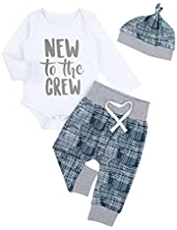 3a47855d1 Newborn Baby Boy Clothes New to The Crew Letter Print Romper Long Pants Hat  3PCS Outfits
