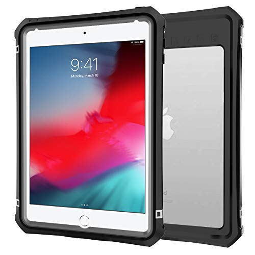 iPad Mini 4/5 Waterproof Case, Willbox Full Body Protective Shockproof Dustproof Cover Case with Adjustable Tablet Stand Built-in Screen Protector for iPad Mini 4/5 (7.9 Inch, Black)