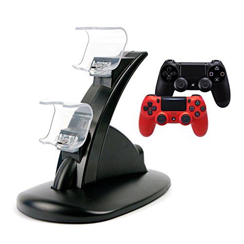 Price comparison product image PeggieHome PS4 Controller Charger Dock, LED Dual USB Charging Station Stand Cradle for Playstation 4 PS4 Slim Controller/ PS4 Pro(Black)