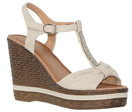 MVE Shoes Women's Open Toe Platforms - T.Strap Bow Summer Wedges - Spadrille Sandal, tan Size 8.5 (Platform Bow Wedge)