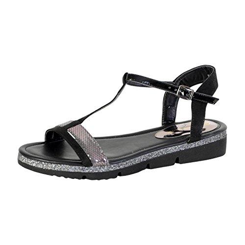 "Sandalias de las señoras "" La Divina Fábrica TDF2948 Negro Noir"