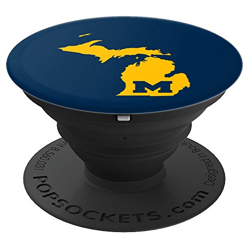 Michigan State Map Navy Yellow PopSocket - PopSockets Grip and Stand for Phones and Tablets by Fun Phone Grips