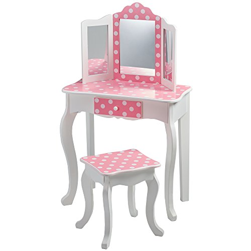 Teamson Kids TD-11670F Fashion Prints Wooden Vanity Table and Stool Set, Pink/Polka Dot, Pink/White, One Size (Kid Vanity Set)