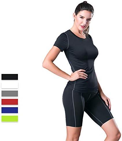 レディースジャージ上下セット 女性スリムモーニングランニングフィットネス半袖速乾性ショートパンツ2ピースタイトヨガスポーツセットを着用 (色 : ブラック, サイズ : XL)