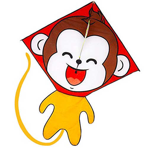 Besra Cute Monkey Kite Single Line Easy to Fly Animal Nylon Diamond Kite with Handle & Strings for Kids
