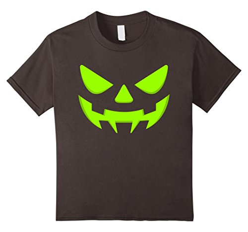 Hollowed Costumes (Kids Jack-O-Lantern Face Scary Halloween T-Shirt - Pumpkin Shirt 8 Asphalt)