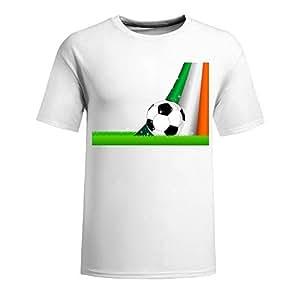 Custom Mens Cotton Short Sleeve Round Neck T-shirt,2014 Brazil FIFA World Cup Soccer Ireland white