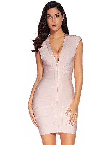 (Meilun Women/'s Rayon Sexy V-neck Party Clubwear Bandage Dress,Beige S )