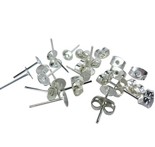Earring Base Supply - YOYOSTORE 100 Lot Stainless Steel Silver Tone Flat Base Pad Earring Make DIY With Posts Studs Back Blank Findings (6mm)