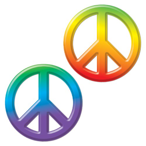 Peace Sign Party Plastic Tablecover (Beistle 54301 24-Pack Plastic Peace Signs, 9-Inch)