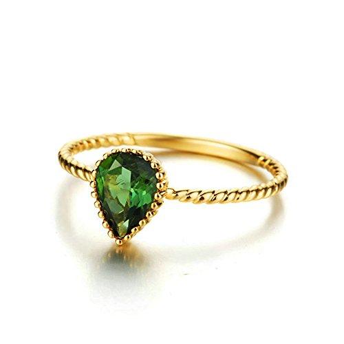 ANAZOZ 18K Gold(Au750) Green Tourmaline Rose Gold Diamond Ring Band