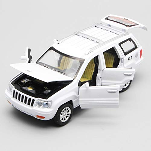 elegantstunning 1/32 Scale USA JEE-P Grand Cherokee SUV Diecast Metal Pull Back Six Door Can Open Flashing Musical Car Model Toy for Gift Kids White