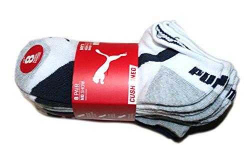Puma Boy's 8 pair No Show Cushioned Socks (Sock size: 9-11, Shoe size: 4-9.5)