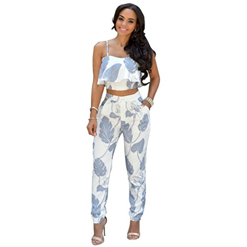 Xuan2Xuan3 Women Spaghetti Strap Outfits Crop Tops Long Pants Jumpsuit Rompers,Photo color,XX-Large