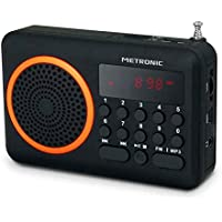 Metronic 477204 Radio Portable FM Compact avec Port USB + Lecteur Carte Micro SD - Noir et Orange