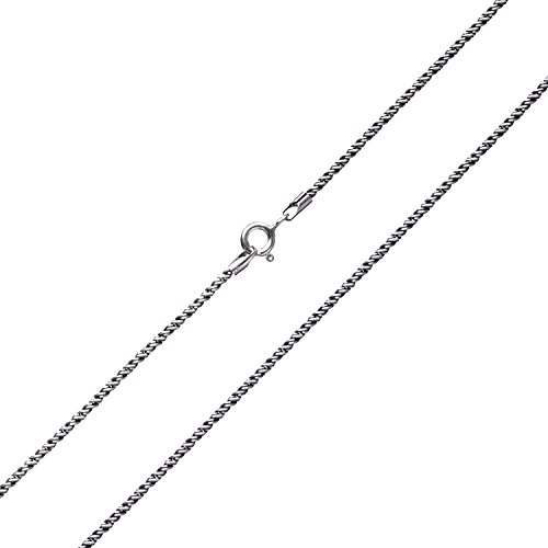 Sterling Silver Twisted Rope Vintage Chain Necklace, 18''-22'' (1mm Width 20 inches)