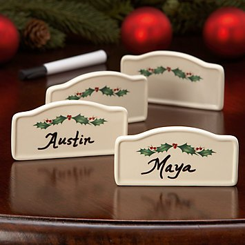 Christmas Tablescape Decor - Lenox Holiday Holly 4-Pc Place Card Holders