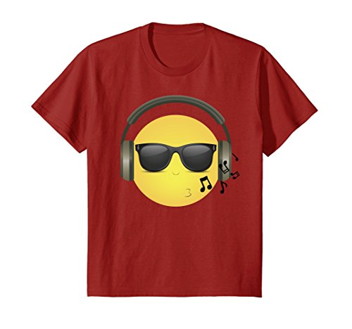 Kids Whistling COOL Emoji with Music Headphones & Shades 12 Cranberry - Cranberry Shade