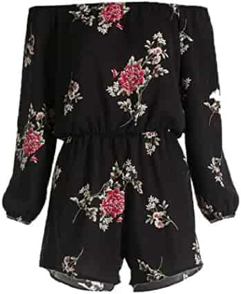 24bbec692f8 ShenPr Sale Womens Summer Off Shoulder Floral Printed Elastic Waist Long Sleeve  Rompers Playsuit Jumpsuit