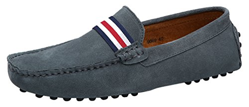 Abby 9869 Mode Loafers Eleganta Tillfälliga Slip-on Pigg Mockasiner Driver Ludd Tofflor Grå