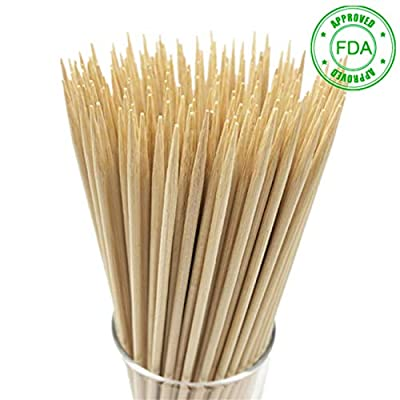 "HOPELF Natural Bamboo Skewers for Appetiser, Cocktail, Kabob, Chocolate Fountain, and Fruit. Premium Barbecue Tools, Suitable for Kitchen, Party, Grilling. More Size Choices 6""/8""/10""/12""(100 PCS)"