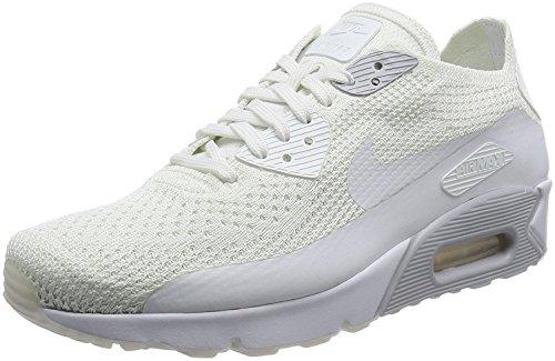 Nike Men's Air Max 90 Ultra 2.0 Flyknit Running Shoe, White/White-Pure Platinum-Whit, 43 D(M) EU/8.5 D(M) UK