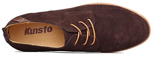 Up Oxford Flats Mens Brown Classic Kunsto Leather Shoes Lace wqO0tUx
