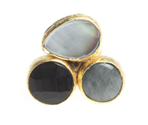 3 Stone Pearl Ring (24K Yellow Gold Plated Pear Mother of Pearl Round Onyx Smoky Quartz Natural Three Stone Adjustable)