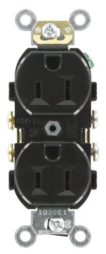 Leviton CR15-E 15-Amp, 125-Volt, Narrow Body Duplex Receptacle, Straight Blade, Commercial Grade, Self Grounding, Side Wired, (Leviton Duplex Receptacle)