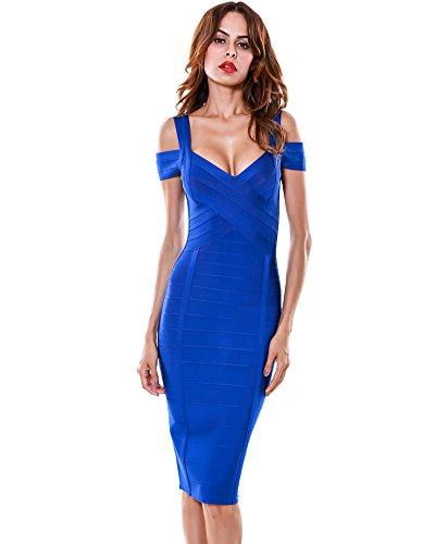 UONBOX Women's Elegant Off Shoulder Knee Length Bodycon Night Party Bandage Dress (M, Royal Blue-Polyester)