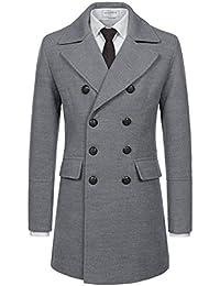 NEARKIN Mens Upturned Collar Unbalanced Wool Blend Checker Slim Fit Pea Coat