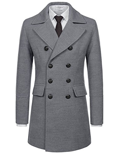 Blend Wool Jacket Ivory (NEARKIN (NKNKDC7073) Mens Notch Label Double Breasted 8 Button Wool Blend PEA Coat GRAY US XXL(Tag size 2XL))