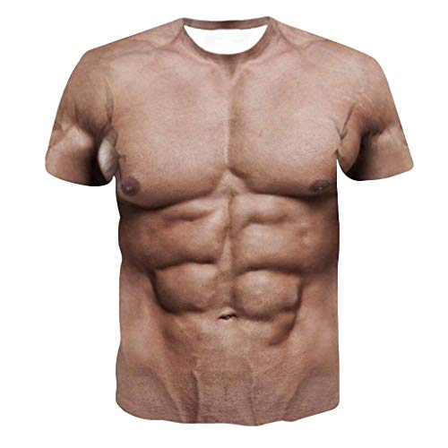 Funny Blouse Men's 3D Muscle Printing Top Fitness Elastic Short Sleeve T-shirt