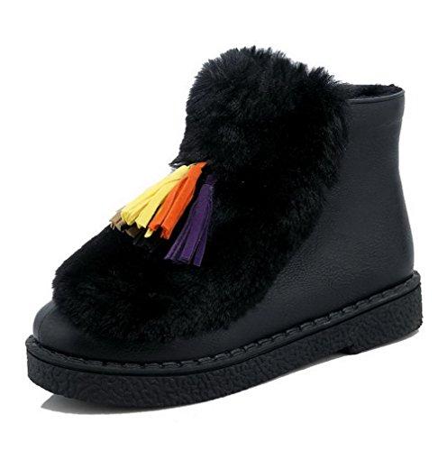 Soft Boots Round Closed Black Material top Low Women's Toe AgooLar Heels Zipper Low nzIU4qP