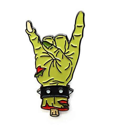 (Pinsanity Zombie Rock Hand Horror Enamel Lapel Pin)