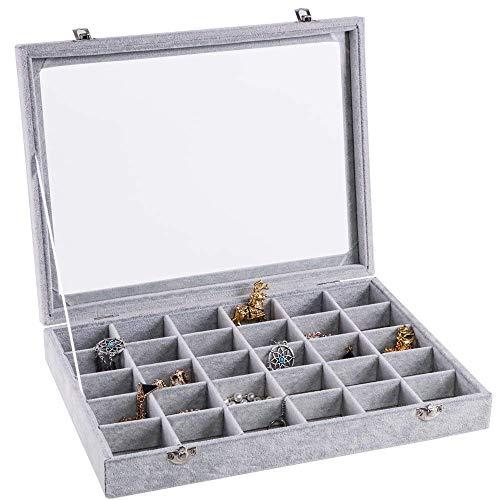 (Basuwell 30 Grids Velvet Glass Jewelry Ring Bracelet Display Organizer Case Holder Earrings Storage Box)