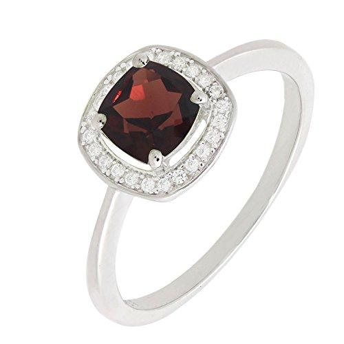 Cushion Cut Garnet Ring (Sterling Silver Cushion Cut Genuine Natural Garnet Statement Halo Ring (1 1/3 C.T.T.W))