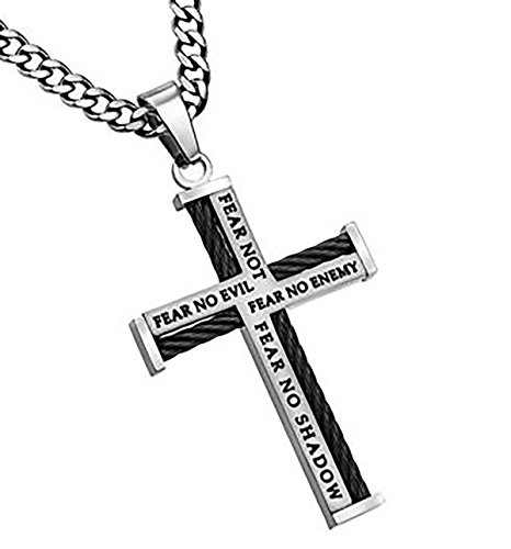 Cable Cross Necklace Fear NO Evil Stainless Steel Christian Bible Verse Scripture Jewelry 20