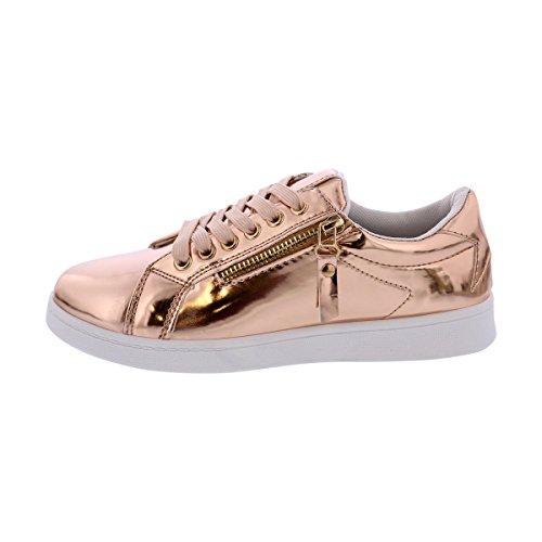 Forever - Womens Metallic Sneaker - Rose Gold