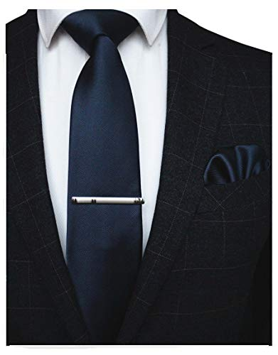 JEMYGINS Navy Formal Necktie and Pocket Square, Hankerchief and Tie Bar Clip Sets for Men