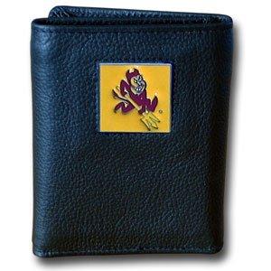 Siskiyou NCAA Arizona State Sun Devils Deluxe Leather Tri-Fold Wallet in Gift Box, Black