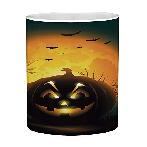 Funny Coffee Mug with Quote Halloween 11 Ounces Funny Coffee Mug Fierce Character Evil Face Ominous Aggressive Pumpkin Full Moon Bats Decorative Orange Dark Brown Black