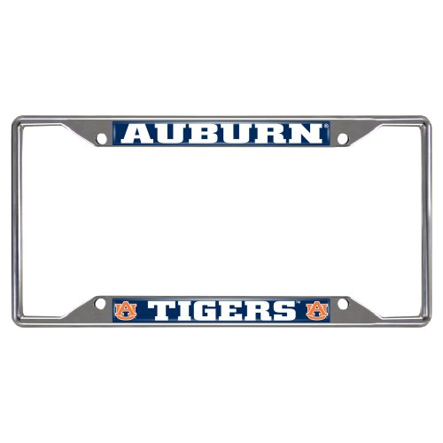 FANMATS  14787  NCAA Auburn University Tigers Chrome License Plate Frame (Auburn Tigers Chrome License Plate)
