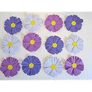 Purple Ombre Aster Paper Flowers, 2 Inch Table Runner Confetti, Loose Floral Decor, September Birthday 73