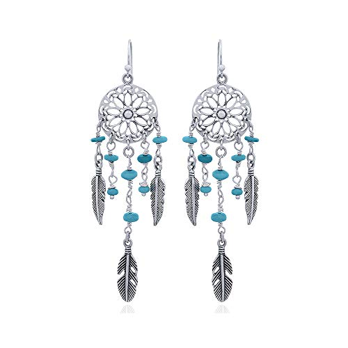 Asortis Sterling Silver Feather Dream Catcher Drop Earrings -
