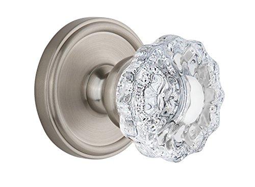 - Grandeur Georgetown Rosette with Versailles Crystal Knob, Single Dummy, Satin Nickel