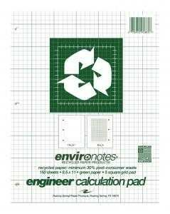 Bulk Recycled Engineering Pads, 8.5''x11.75'', Green Tint Paper, 5x5 Grid, 150 Sheets: Roaring Spring 95385 (24 Engineering Graph Pads)