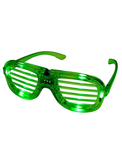 Fun Central I463, 1 Pc, Green LED Light Up Slotted Shades, Glow in The Dark Slotted Shades, Slotted Sunglasses, Glow Eyeglasses, Flashing Glasses, LED Fun -